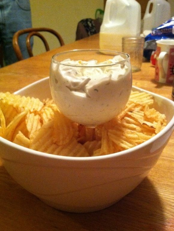 Chip dip in a wine glass.. So smart!