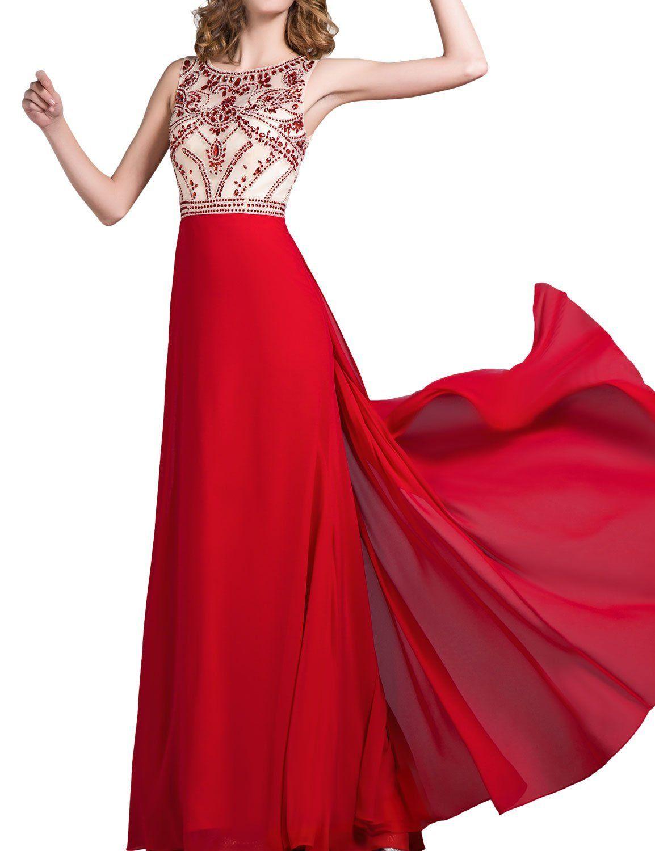 LovingDress Women\'s Prom Dresses Chiffon Scoop Beaded Tulle Bodice ...