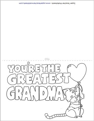 Mother S Day Card For Grandma Mothers Day Coloring Cards Grandma Cards Printable Coloring Cards