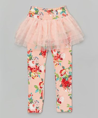 Another great find on #zulily! Pink Floral Skirted Leggings - Toddler & Girls #zulilyfinds