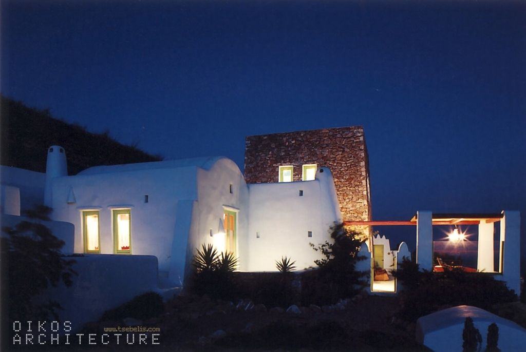 Stone Built House, Outdoor Detail, Light Green, Pergola, Pyrgos, Santorini, Greece