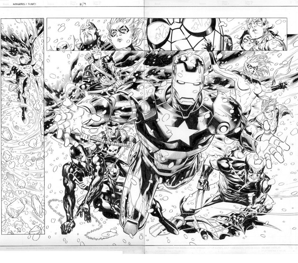 new avengers fcbd pages 8 9 by markmorales on deviantart lineart