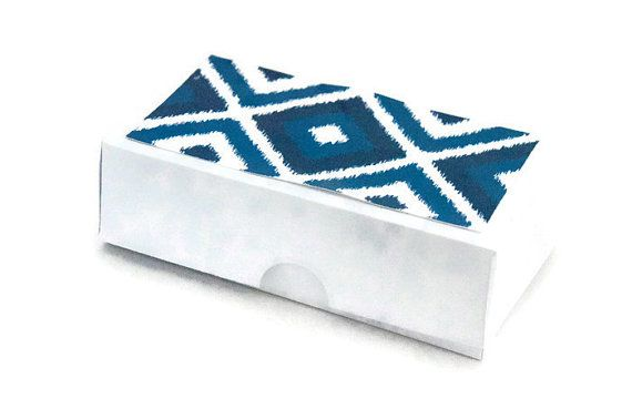 Set of 10 Blue ikat print box white and blue gift by ChainOfJoy