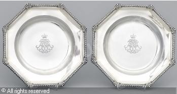 FABERGÉ Karl (Carl), 1846-1920 (Russia) Title : Tallrikar, (2) Date : ca 1896   Category : Silver Medium : : A pair: Silver gilt plates, 1075 g.