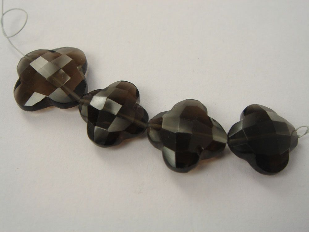 Smoky Quartz Faceted Flower (Quality AAA) / 13.50 to 17 mm / 5 cm / 26.25 carats / 4 pieces / ST-899 by beadsofgemstone on Etsy