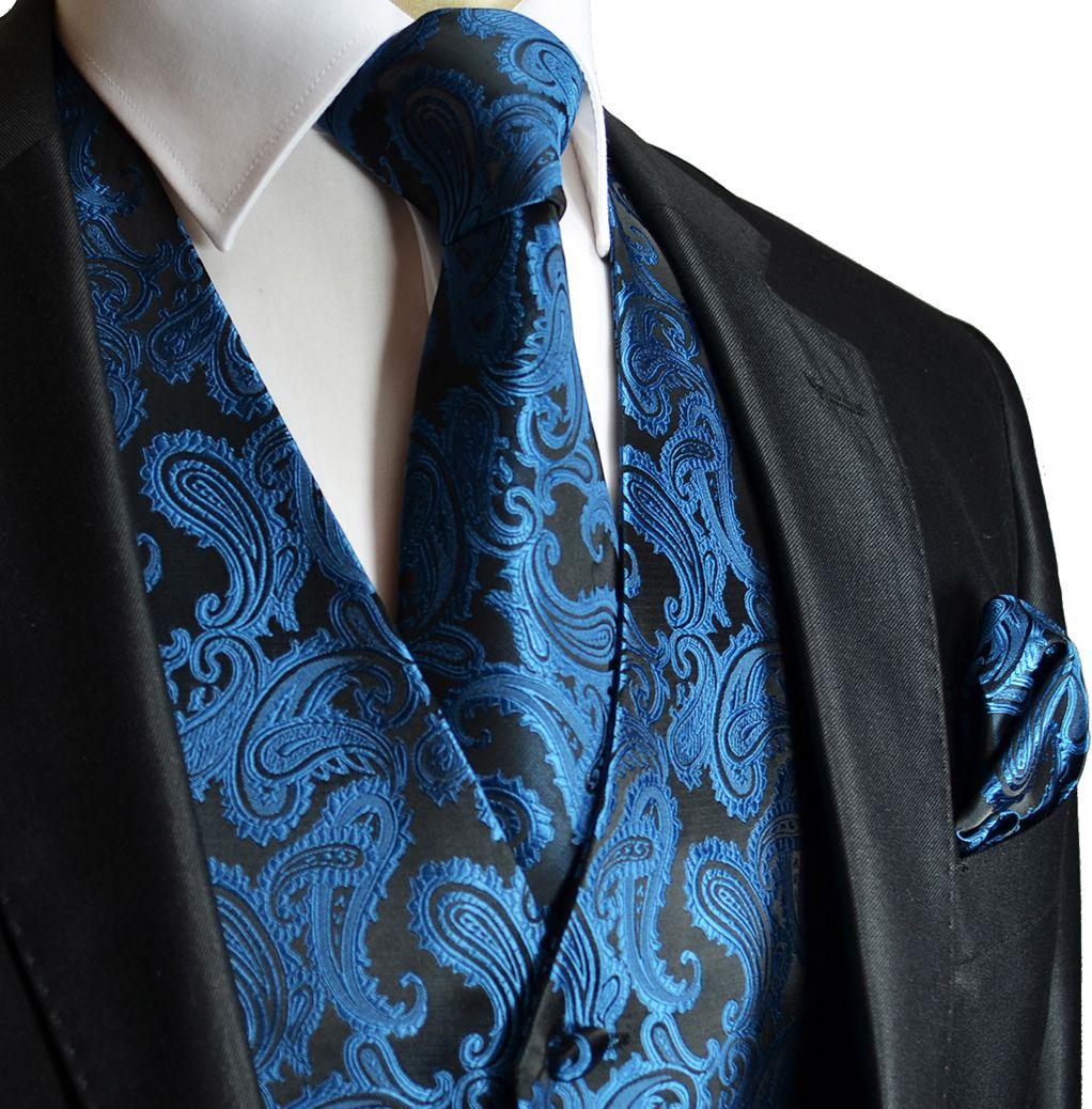 NAVY BLUE Paisley Tuxedo Suit Dress Vest Waistcoat /& Bowtie  Hankie Wedding Prom