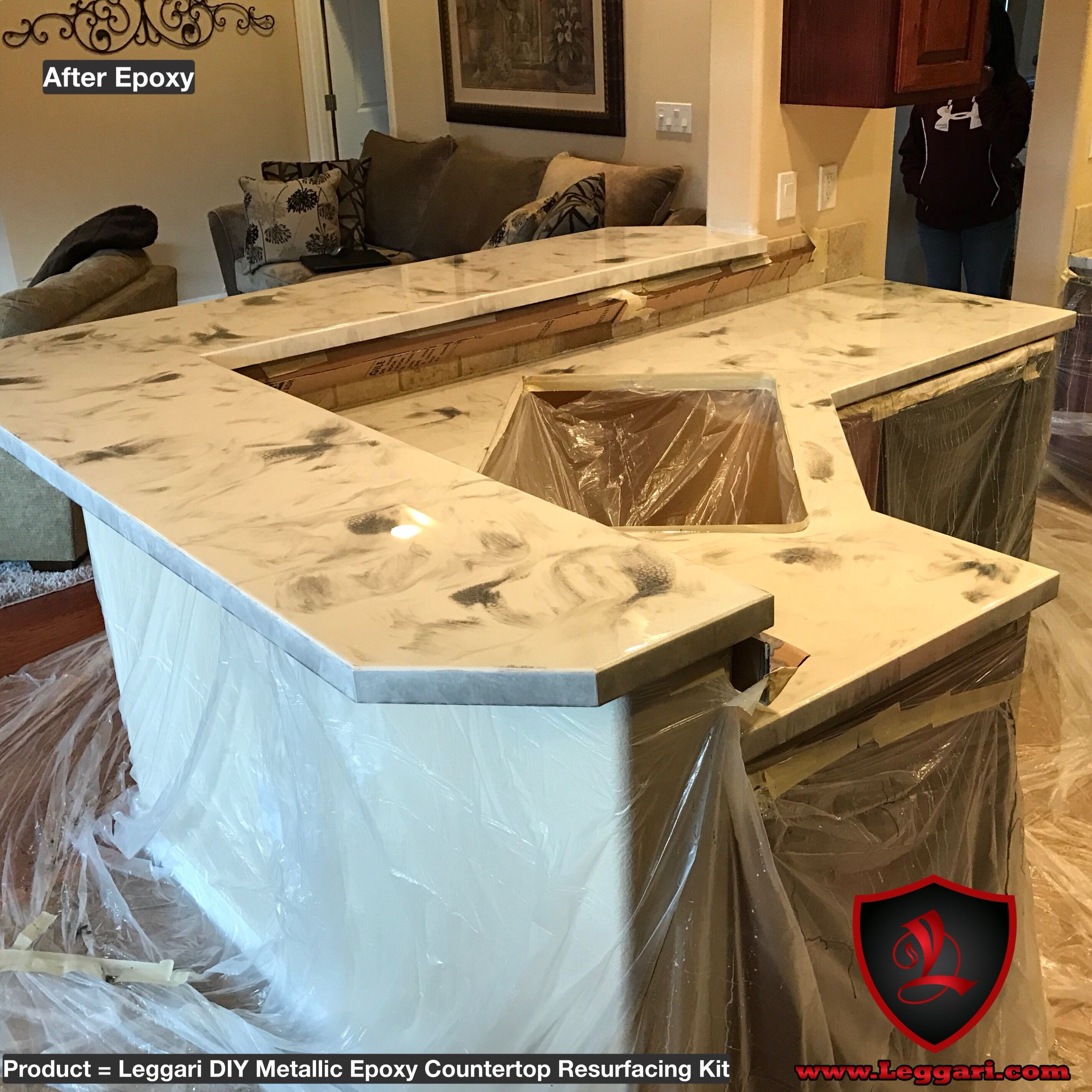Diy Metallic Epoxy Countertop Kit Installed In A Kitchen