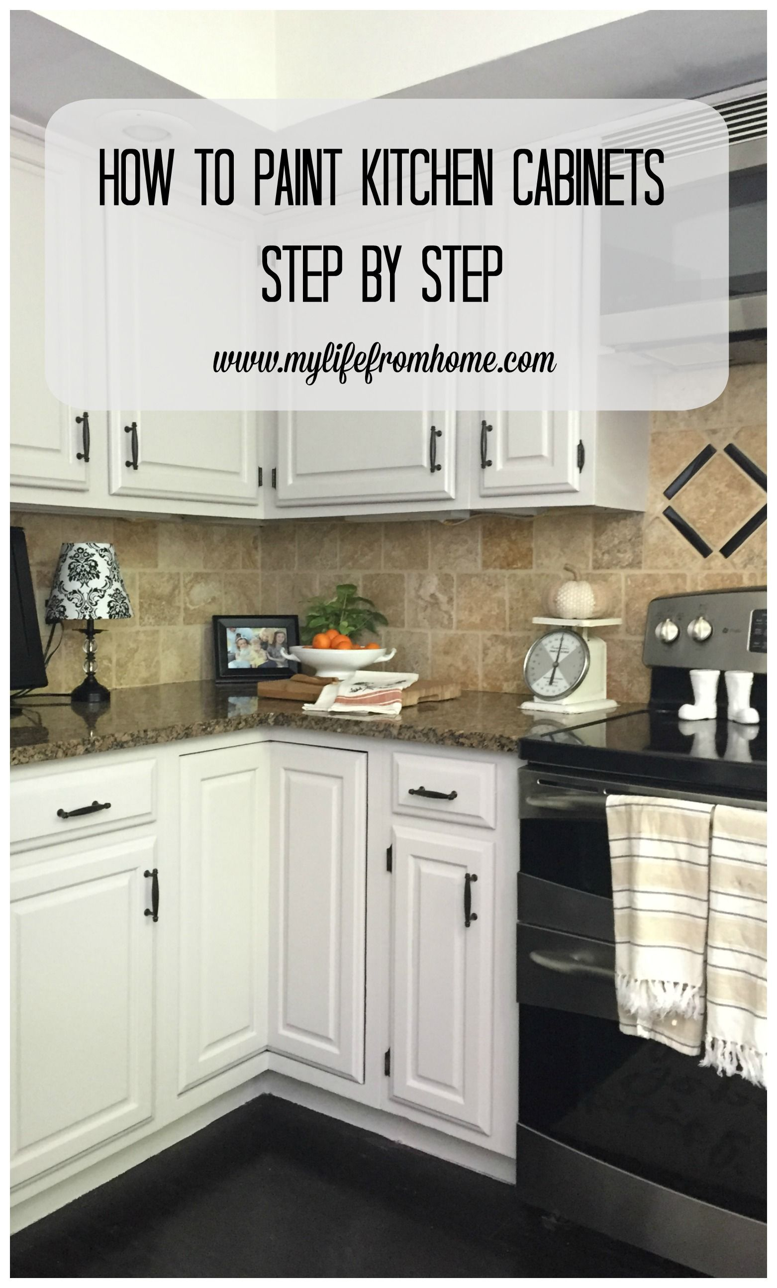 Step by Step instructions on how to paint oak kitchen cabinets. All ...