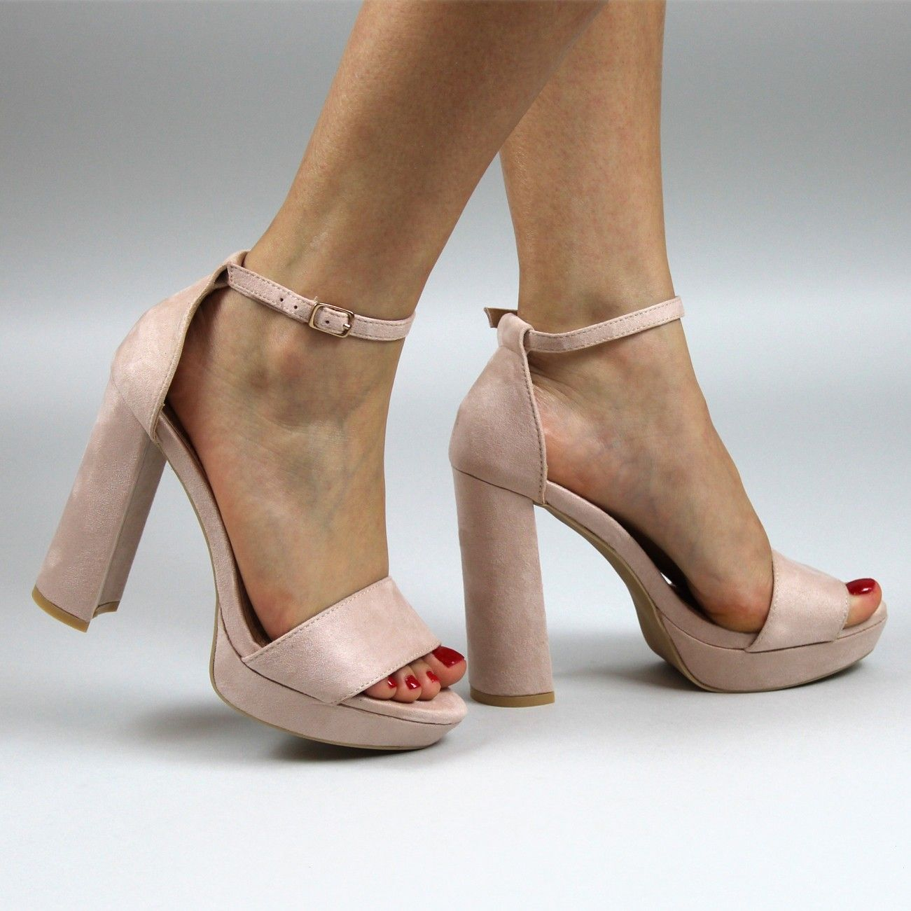 aa4a1835eb7 Cristal Nude Block Heel Open Toe Barely There Ankle Strap High Heels ...