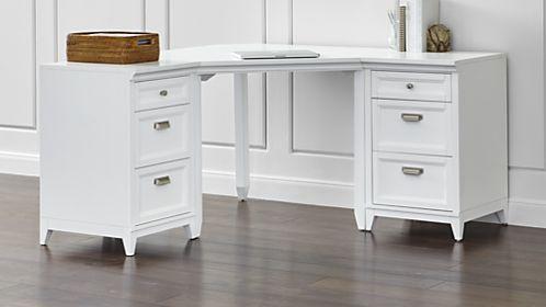 Harrison 3 Piece White Corner Desk Cabinet Suite White Corner