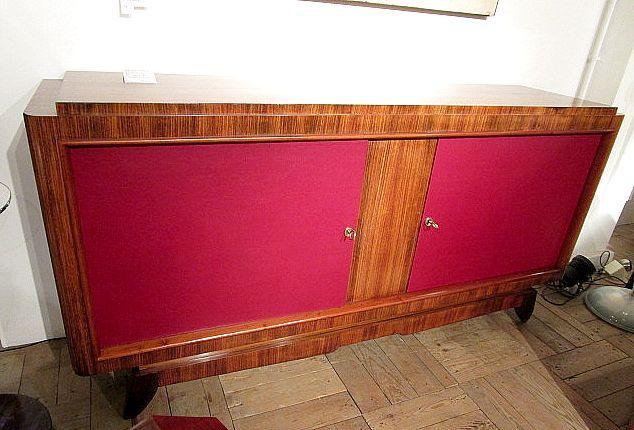 F 754 AS Enfilade palissandre poli et moleskine 1940 - Furniture - Haute Antiques