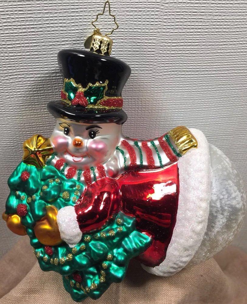 Christopher Radko Trim A Tree O Frosty Snowman Glass Christmas