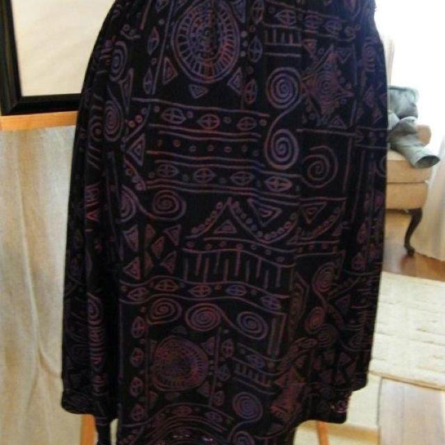Slinky knit elastic waist skirt with hand beaded hem. Black and purple. For sale Clearance $20.00