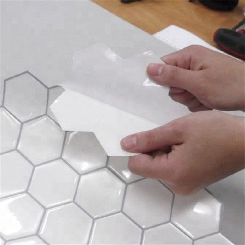 4 Pcs 3d Mosaic White Vinyl Sticker Hexagon Self Adhesive Peel And Stick Wall Tiles For Kitchen And Bathroom Decoration Wall Stickers Aliexpress Peel Stick Backsplash Stick On Tiles Backsplash Wallpaper