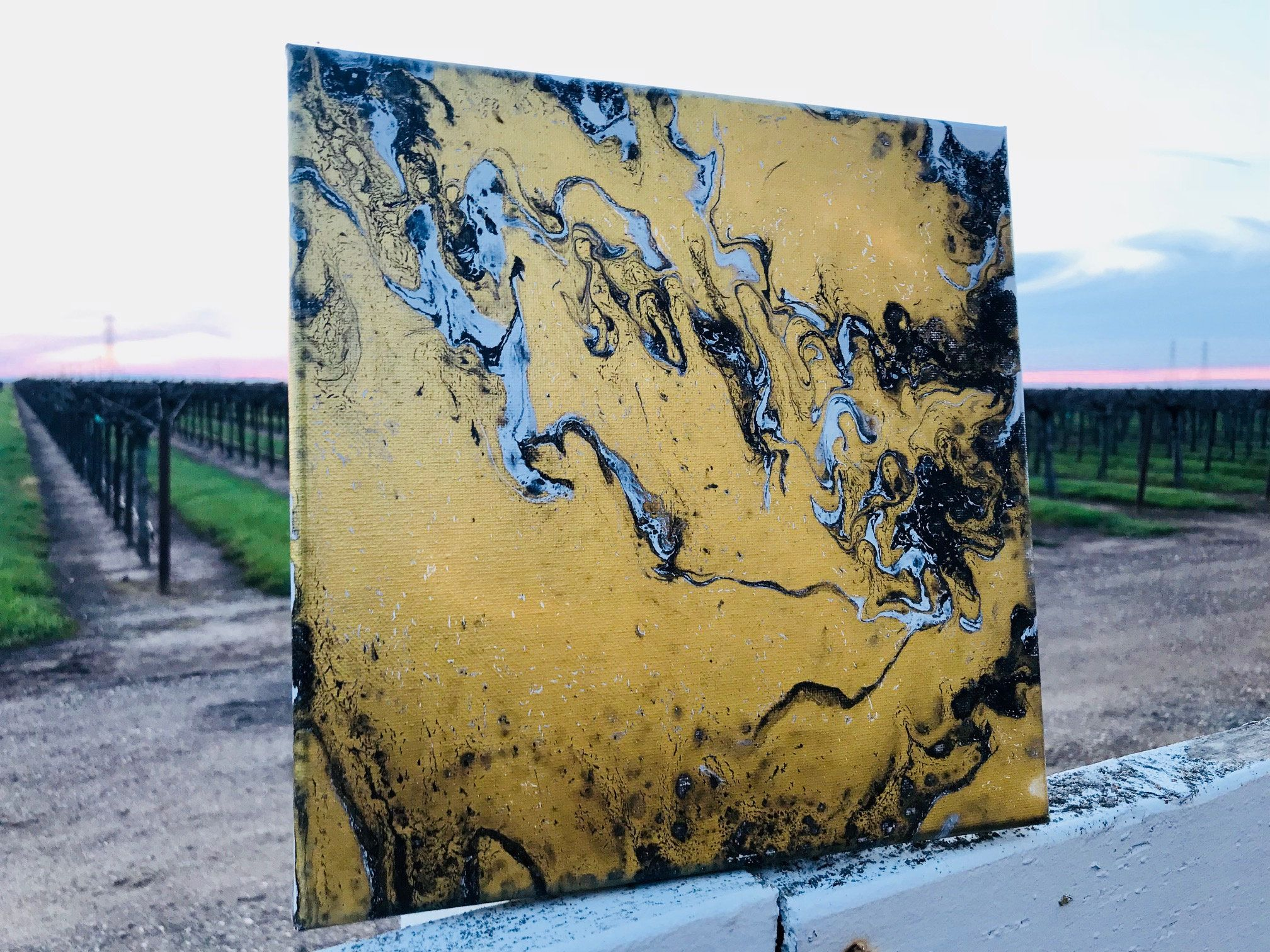 10x10 Acrylic Pour Painting Abstract Canvas // Gold, White, Black ...