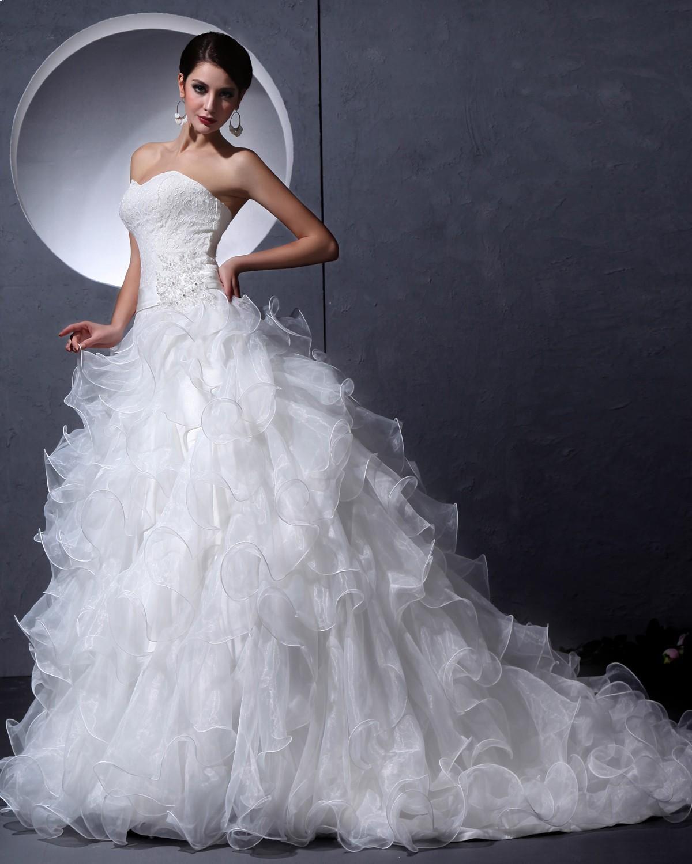 Strapless ball gown wedding dresses  Organza Lace Appliques Strapless Ball Gown Wedding DressStyle No
