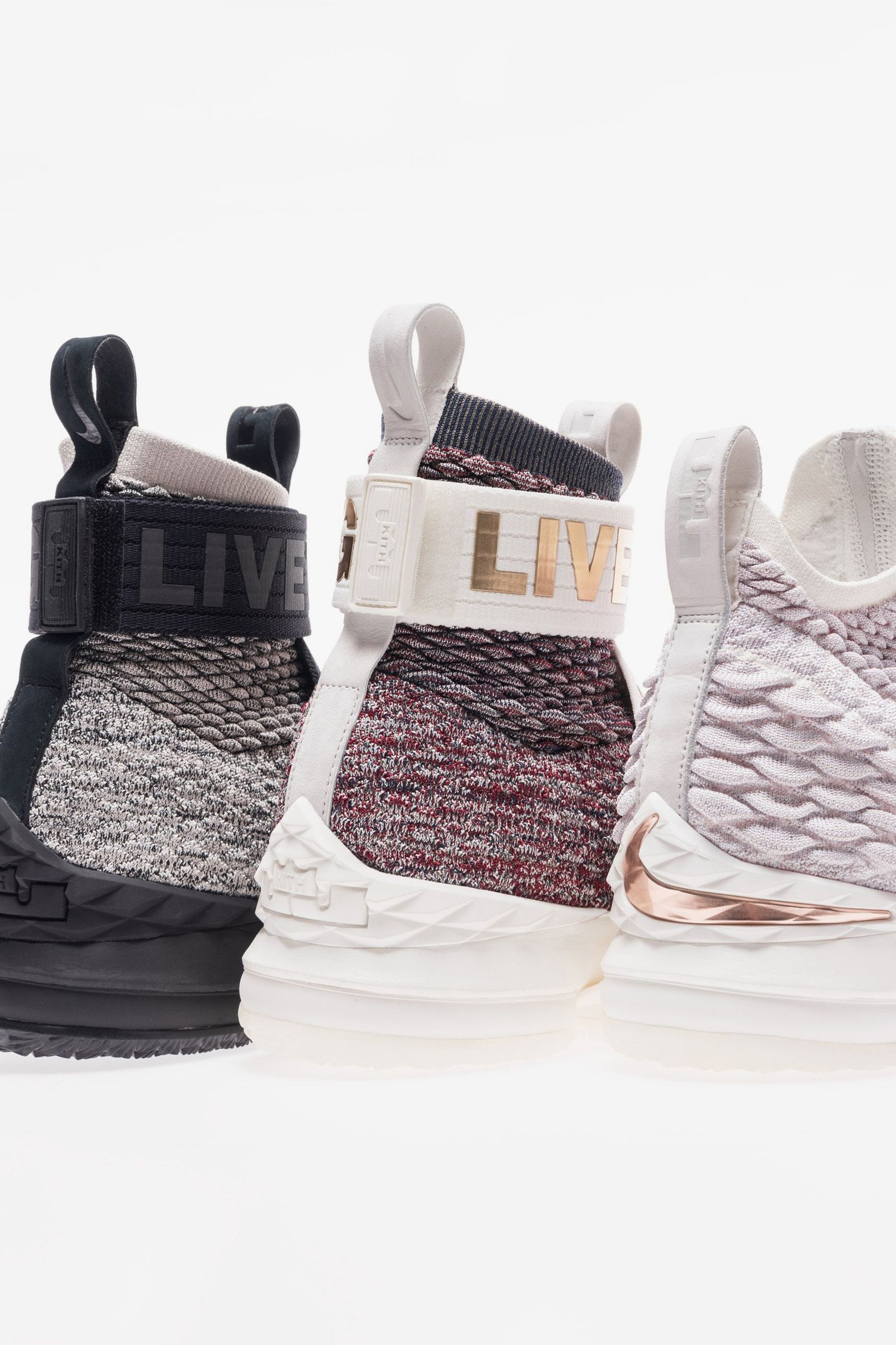 96685566386 Ronnie Fieg Nike LeBron 15 Long Live the King kith strap straps laceless  black white grey red