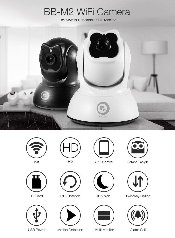 Digoo BB-M2 Mini WiFi HD 720P Home Security Camera Wireless USB Baby