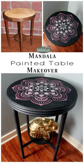 Hand Painted Furniture. Boho Style. Mandala Design. Bohemian Furniture.  Eclectic Pink And