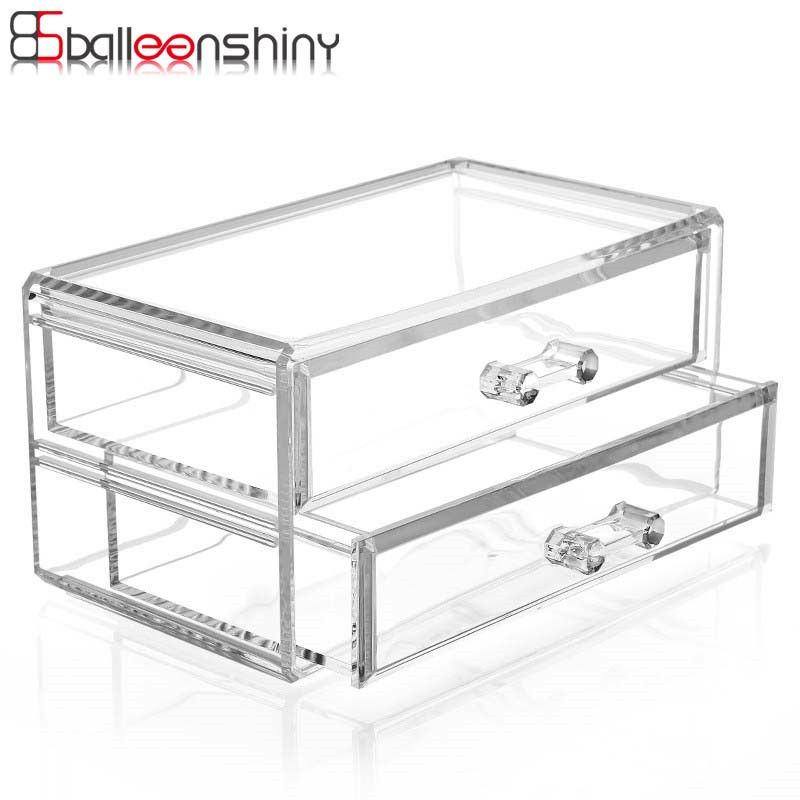 BalleenShiny Clear Acrylic Cosmetic Organizer Makeup Storage Boxes