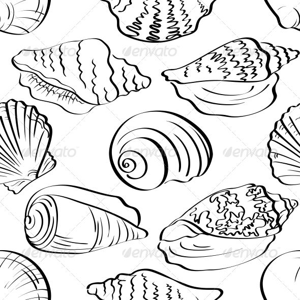 Seamless Background Outline Seashells