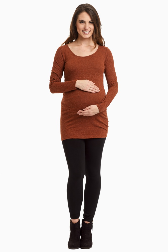 Rust-Two-Toned-Fitted-Knit-Top