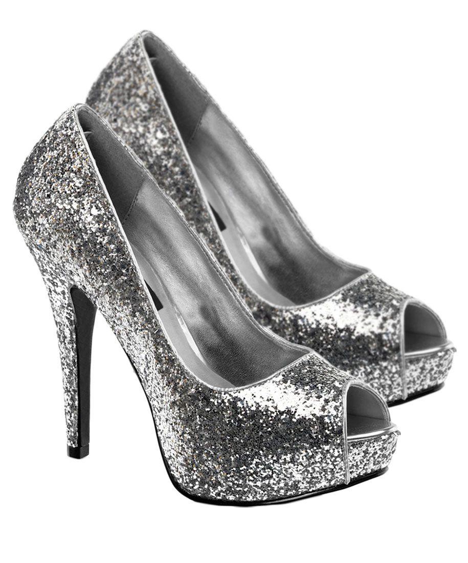 Womens Silver Glitter Twinkle Shoes