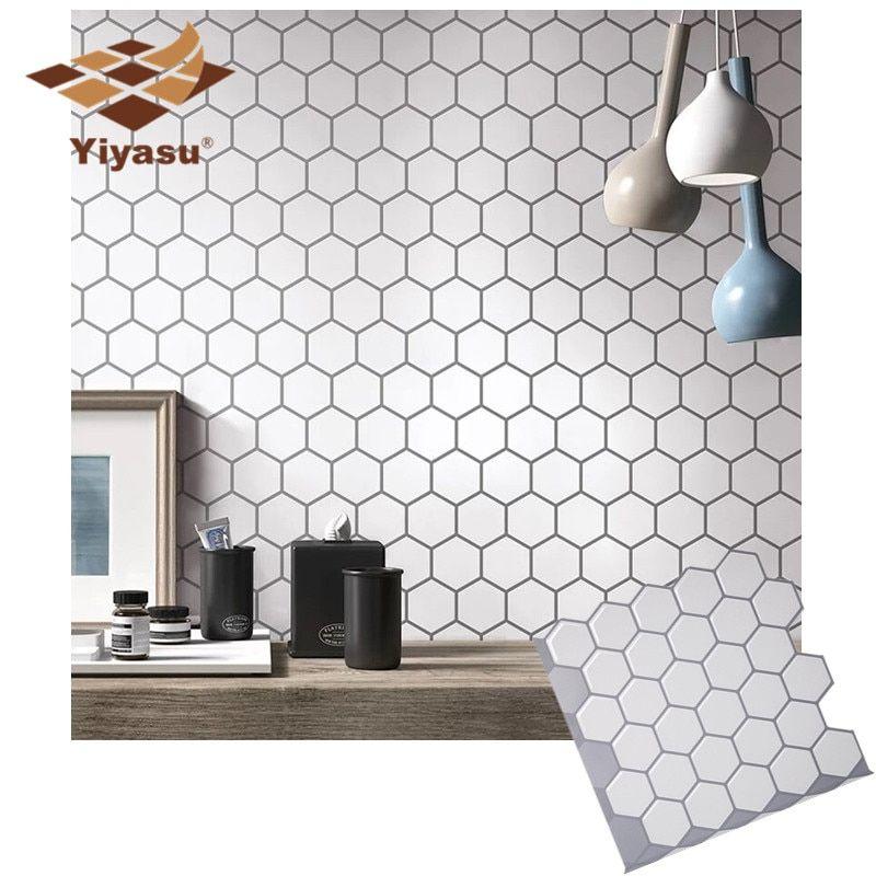 Hexagon off white vinyl sticke in 2020 kitchen wall
