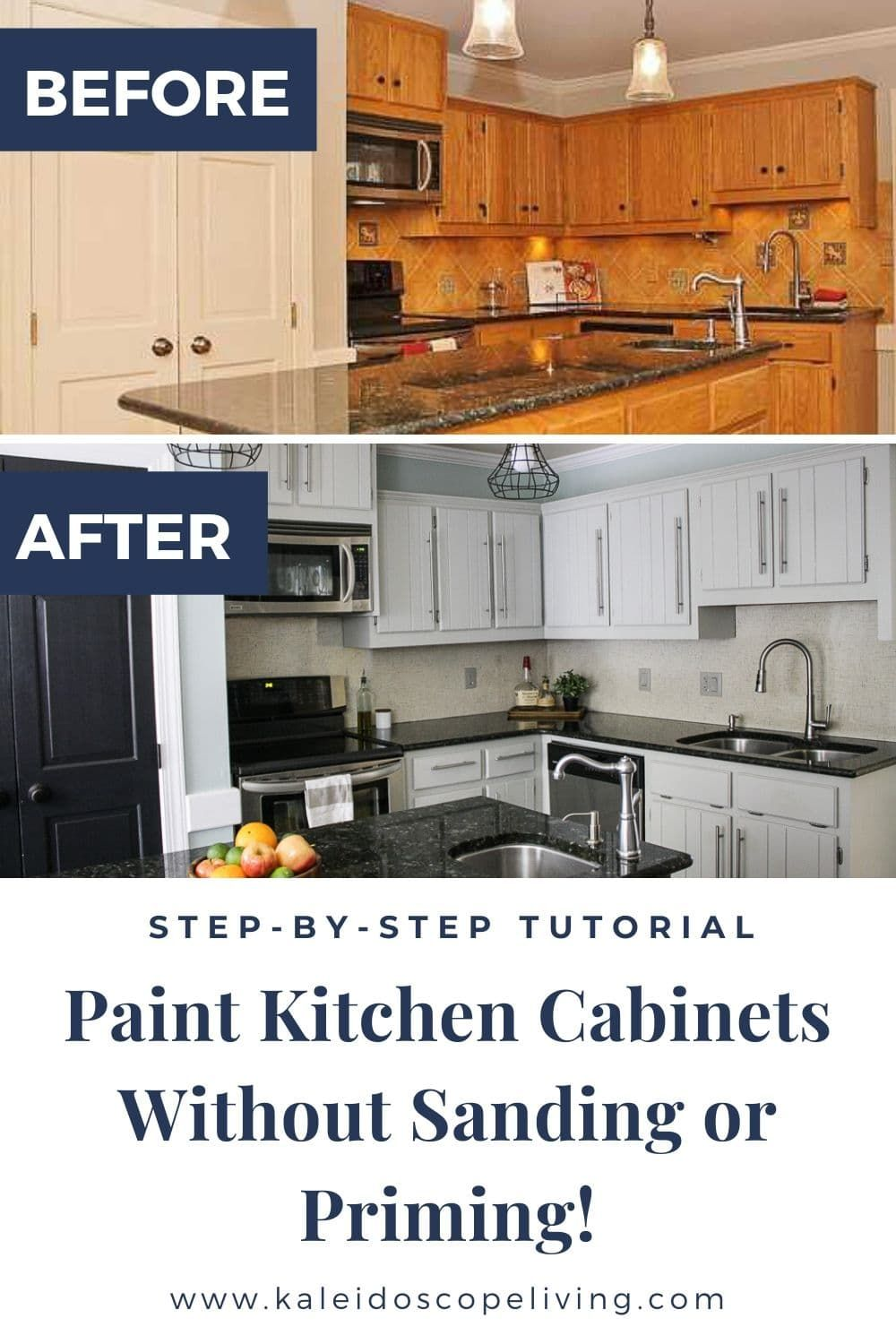 How To Paint Kitchen Cabinets Without Sanding Or Priming Step By Step Kitchen Diy Makeover Painting Kitchen Cabinets New Kitchen Cabinets