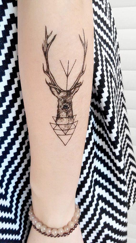 Temporary tattoo deer sticker paper body art by for Temporary tattoo paper