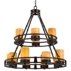 Sunset Onyx Stone 12 Light Faux Candle Chandelier Great Room Candle Chandelier Faux Candle Chandelier Faux Candles