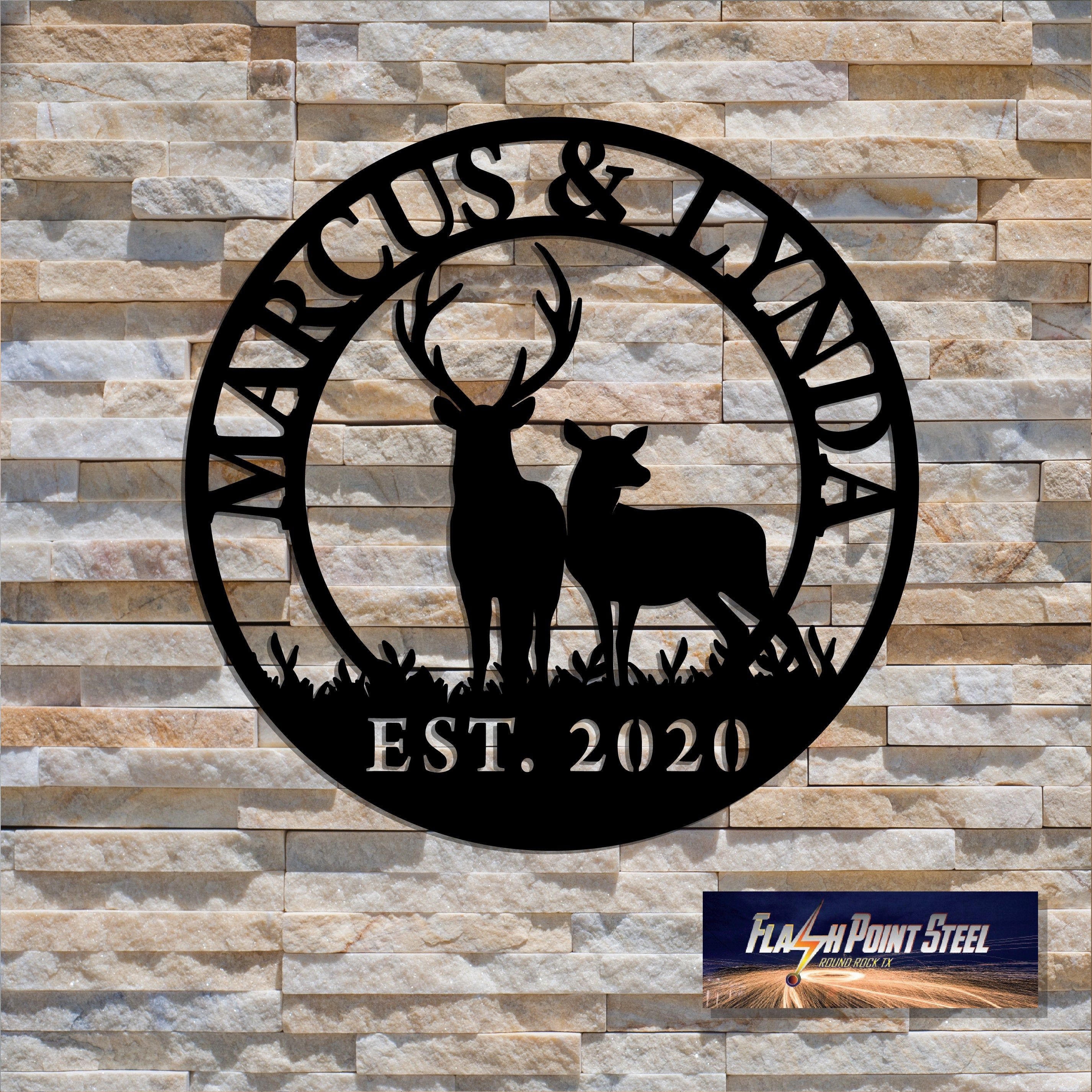 Buck and Doe Deer, Custom Family name, Steel Art, Deer in woods, Antler sign, Family name sign, Custom metal sign, cabin decor