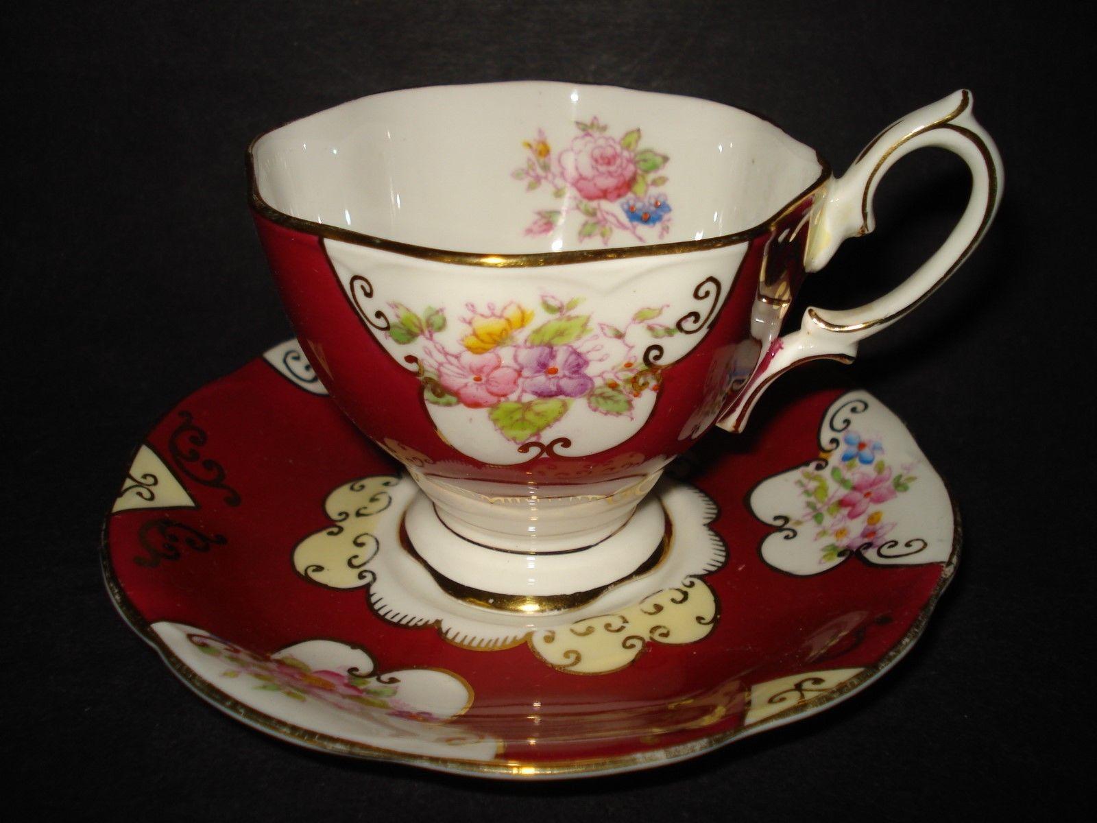 Royal albert bone china tea cup amp saucer winsome pattern ebay - Royal Albert Bone China Burgundy Gold Cup Saucer Set Flowers Floral England