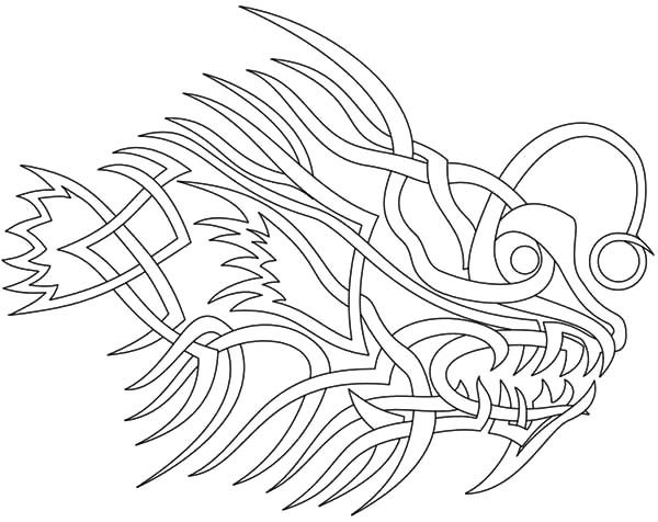 Angler Fish Tribal Tattoo Coloring Pages  Best Place to