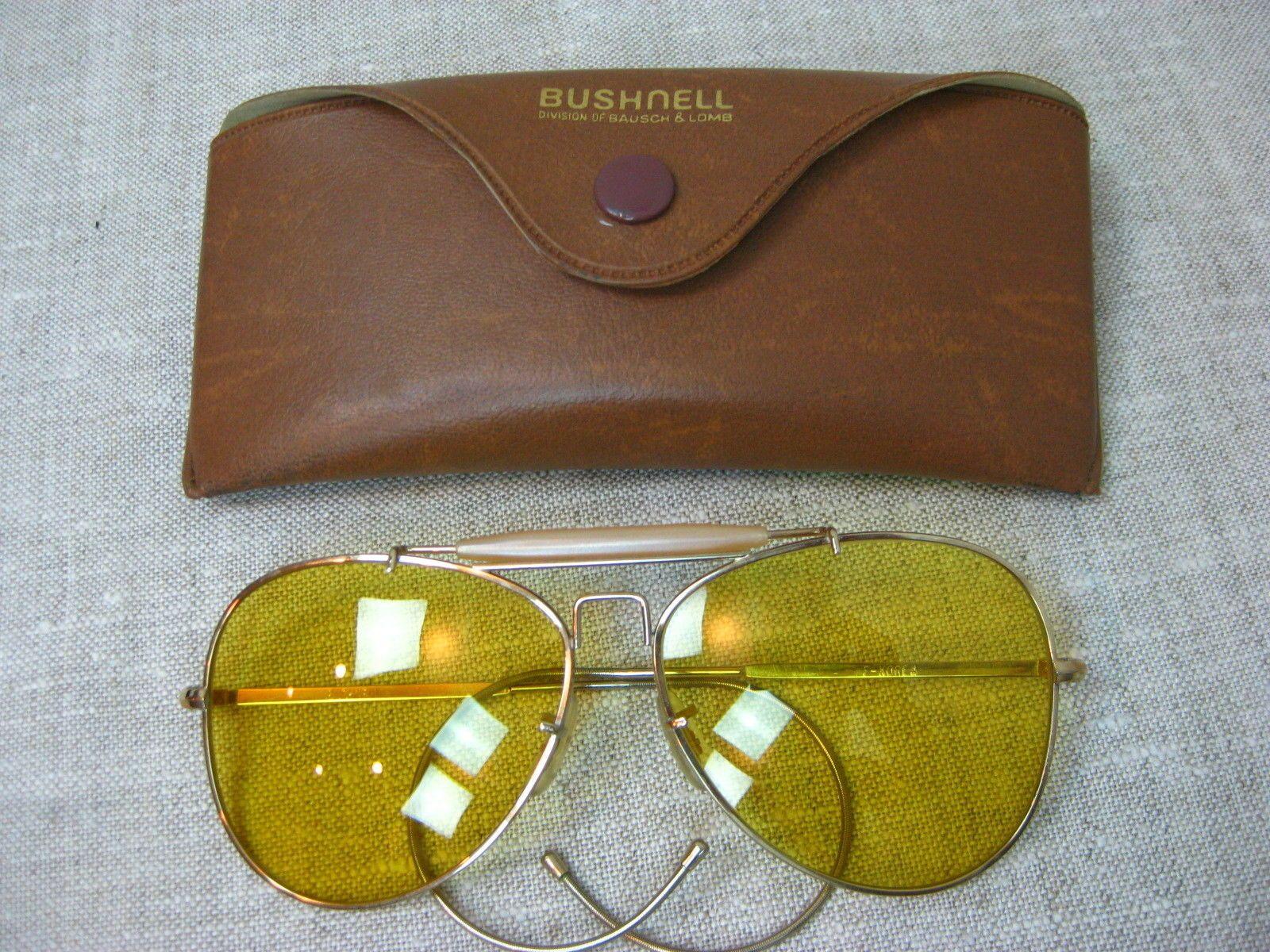 4ce218a63ba655 Vtg B L Yellow Amber Bushnell Aviators Sunglasses   Eye Glasses ...