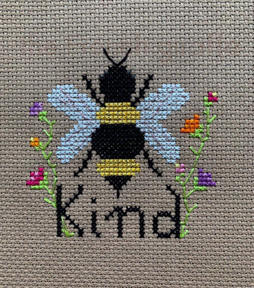 Photo of Bee Kind  Crossstitch Pattern Instant Download PDF