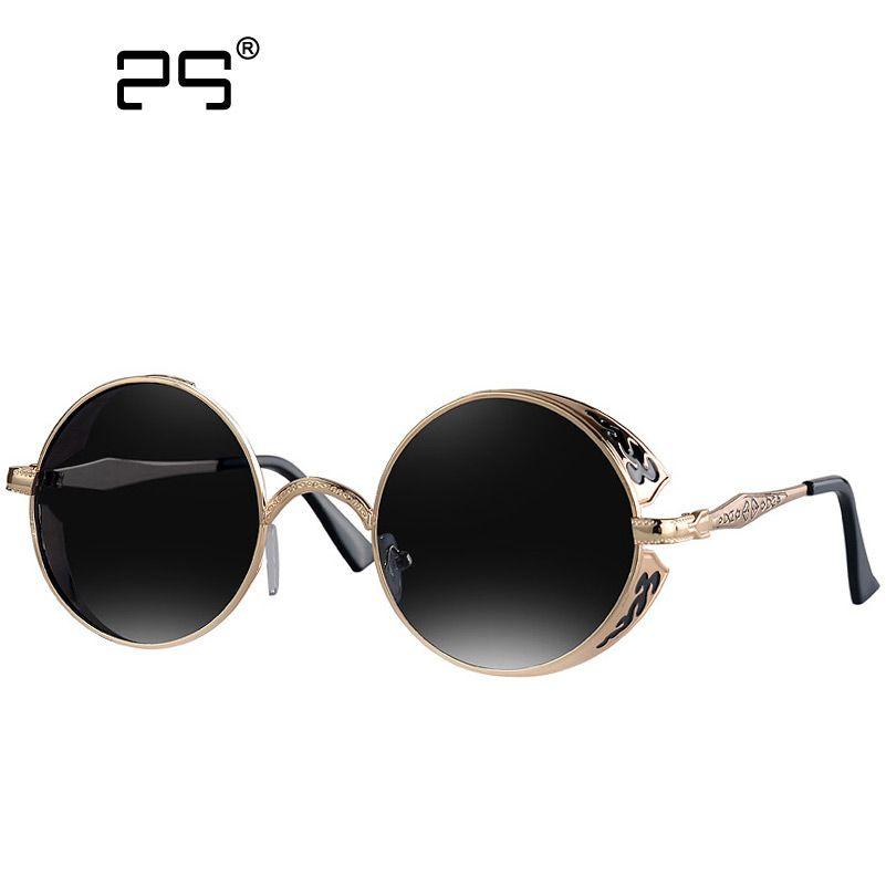 Vintage Steampunk Lunettes de soleil Round Metal Femme Hommes Retro Circle Sun Glasses LiRZZ