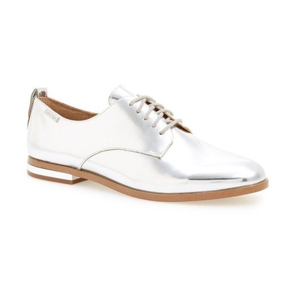 Calvin Klein 'Camella' Oxford (8,145 INR) ❤ liked on Polyvore featuring shoes, oxfords, silver, leather oxford shoes, laced up shoes, oxford lace up shoes, leather footwear and genuine leather shoes