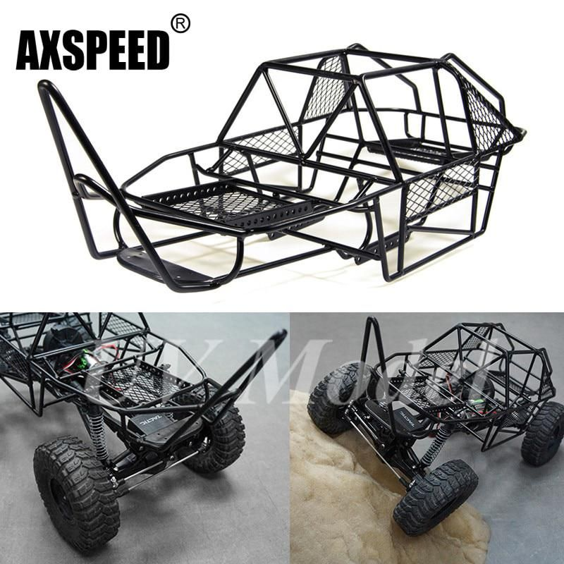 Scale Xtra Speed V Steel Roll Cage Frame Body Black Chassis For Axial Scx10 1 10 Rc Rock Car Crawler Climbing Truck Roll Cage Truck Frames Remote Control Toys