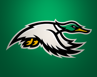 Designer- Logo Pond This logo is a good example of contrasting colors. The duck's light gray body is good against the dark green background works well. However the duck's head is very similar to the background which almost makes it blend in. This logo should probably be on a white background.