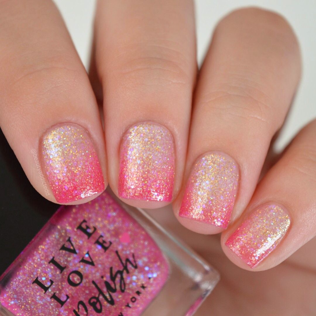 Live Love Polish In Starfish Coral Pink Ombre Glitter Nails