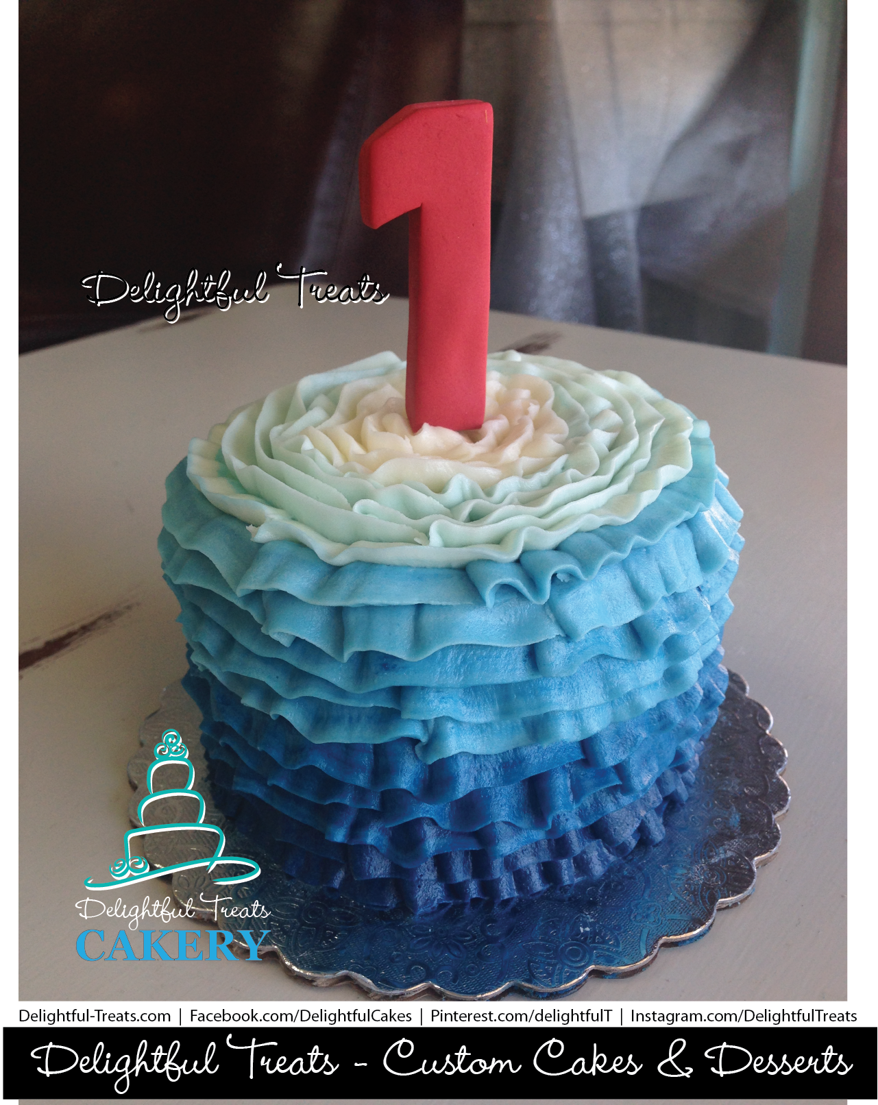 Ombre Buttercream Ruffle Navy Blue To White With Red Gumpaste First Birthday Cake By Delightful Treats Cakery Orlando