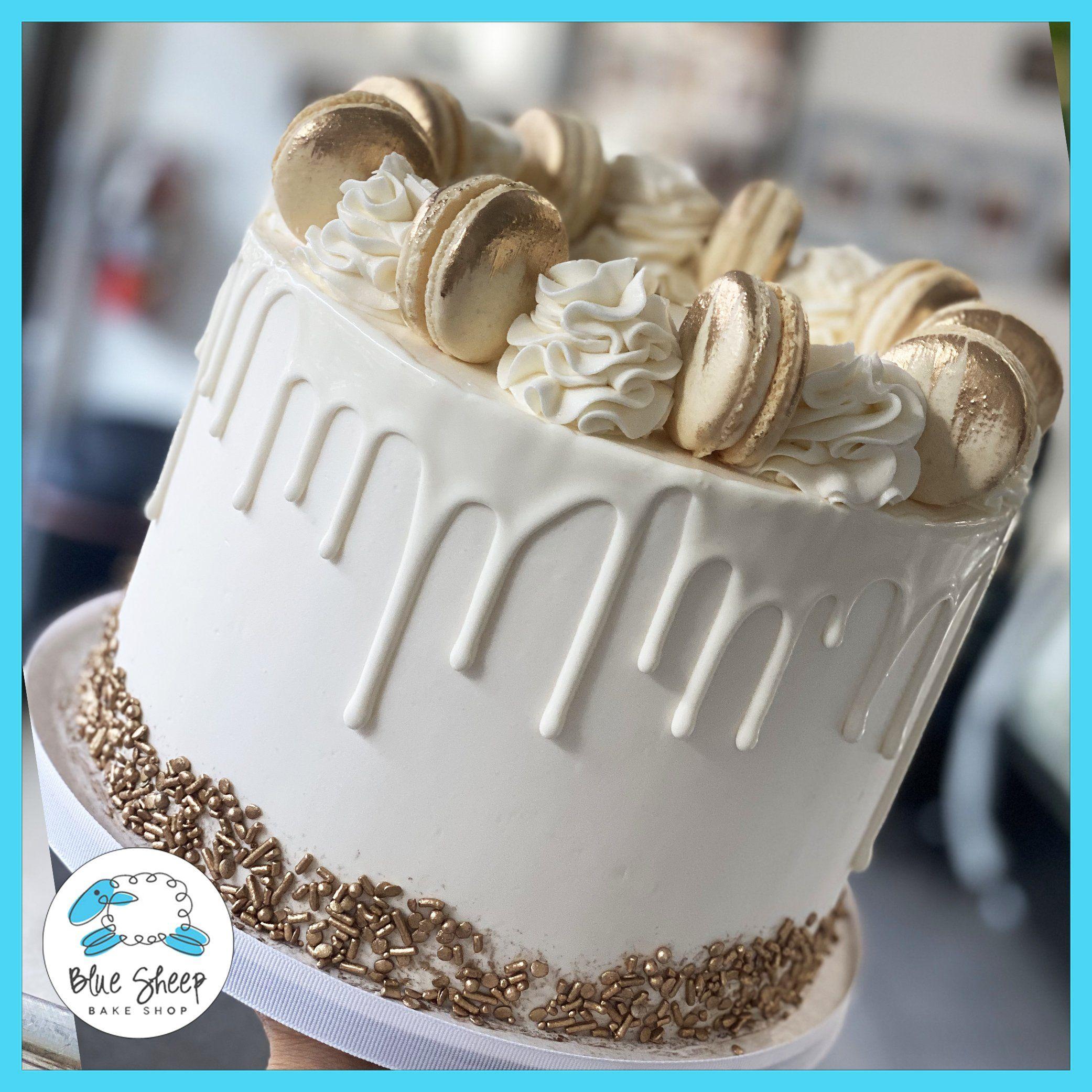 Gold Glam Macaron Drip Cake