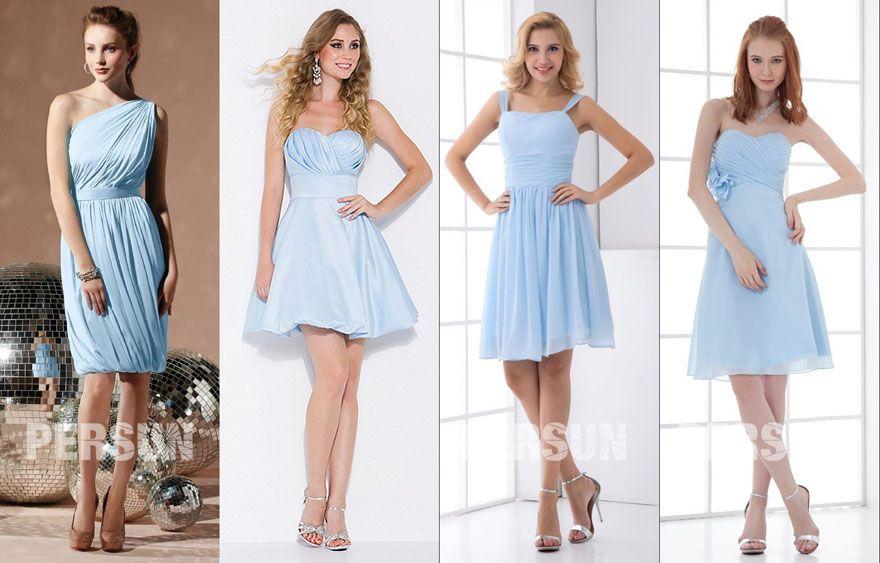 Tenue Invit E Robes De Cocktail Bleu Ciel Pour Participer Un Mariage Tendance F Te