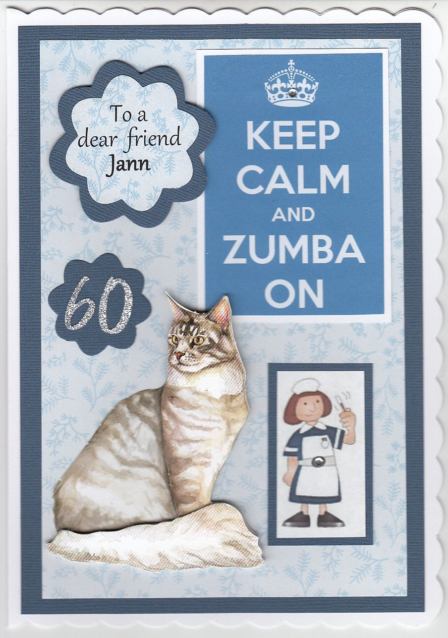 Just had to share this one, I had a request for a 60th birthday card for a zumba dancing cat loving matron!