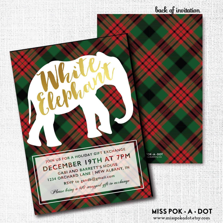 White Elephant Party Invitation, Printable, Gift Exchange Invite ...