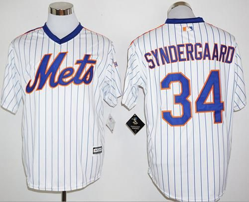 Mets #34 Noah Syndergaard White(Blue Strip) Cool Base