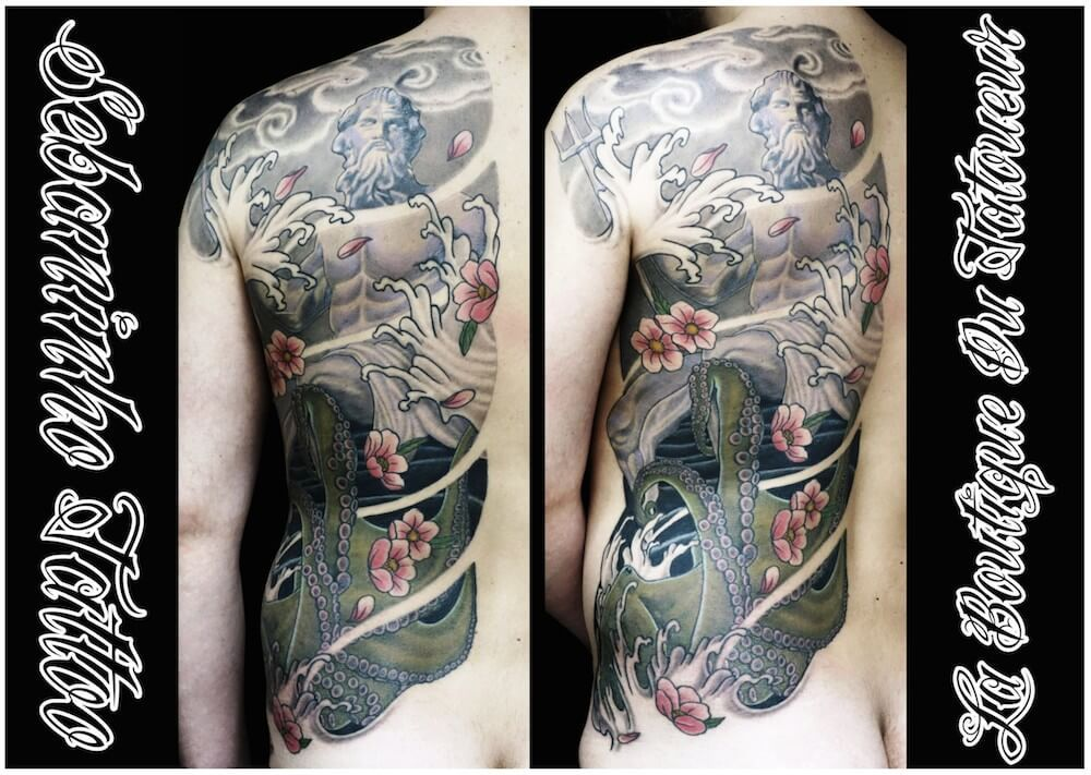 tatouage japonais poseidon pieuvre sebaninho tattoo tatouage japonais pinterest tatouage. Black Bedroom Furniture Sets. Home Design Ideas