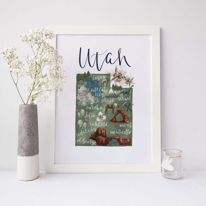 Utah Map Print Gift Idea Salt Lake City Map Instant Download