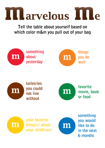 Get to know you games - the m game would be fun. use the white ...